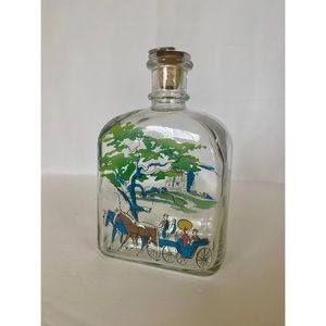 Holmegaard carriage castle painted glass bottle